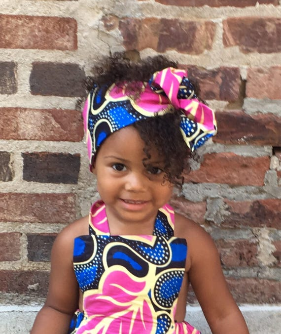 Baby Girl Headwrap Turban African Ankara Floral Print Head Wrap Headband - Hot Pink + Blue Floral