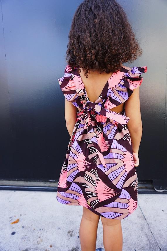 Kids Girls Baby Pinafore Dress Ankara Print Ruffle Ruffled Dress Outfit // 0-3m - 6 // Pink Purple