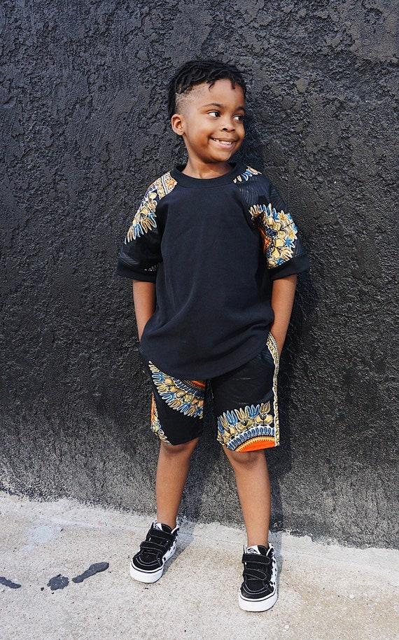 Kids Boys Baby Toddler Crew Neck Short Sleeve Raglan T-Shirt Sweatshirt Unisex // Black Dashiki Ankara African Print Sleeves // 6m - 9/10
