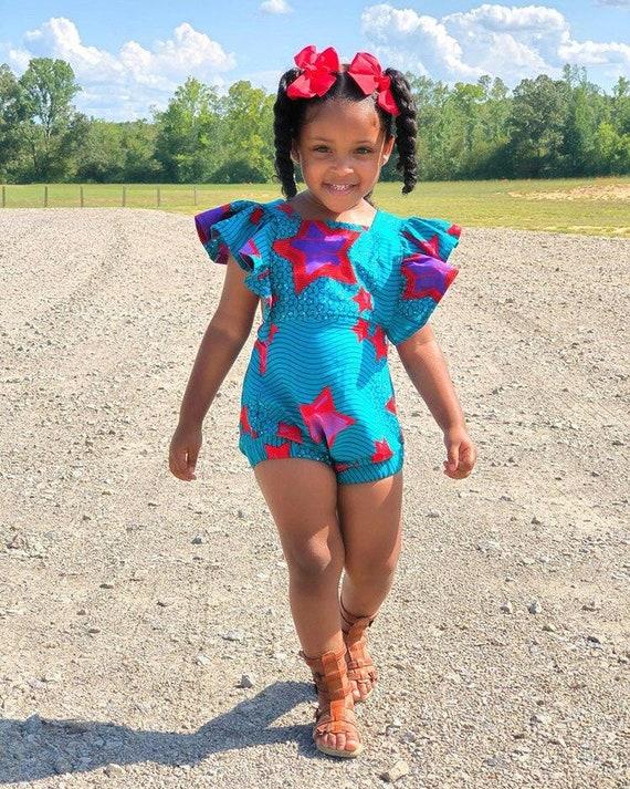 Kids Girls Baby African Dress Ankara Print Ruffle Ruffled Romper Outfit // nb - 6T // Turquoise Purple Red Stars
