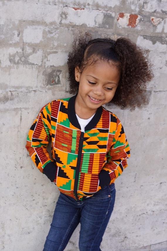Kids Kente African Print Clothes Bomber Aviator Jacket Unisex // Orange Red Green Ankara // Baby Toddler Kids Size 6m - 9/10