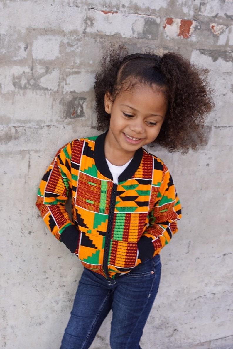 Kids Kente African Print Clothes Bomber Aviator Jacket Unisex image 0
