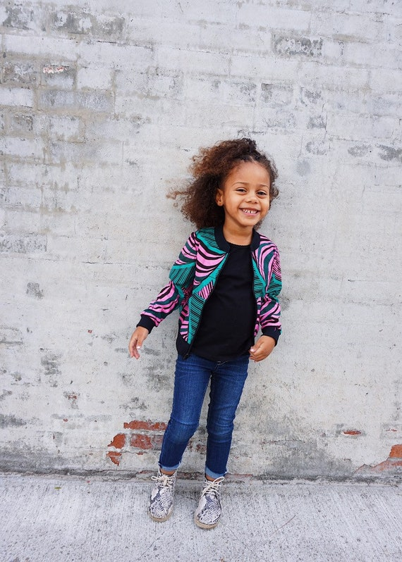 Kids Baby Toddler Bomber Aviator Jacket Unisex // Pink and Green Ankara African Print Fabric // 6m - 5T