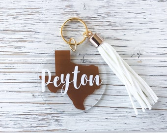 Texas (Any State) Name Keychain-Acrylic Keychain-Custom Name Keychain-Tassel  Keychain-Personalized Gift-Texas Keychain-Cute Keychain 32ba6fe31