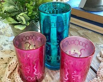 Vintage Mercury Glass Cup Vases Hot Pink Deep Blue