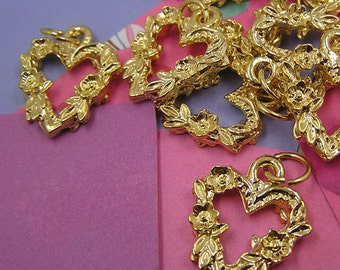 023 Gold Heart of Roses Charms