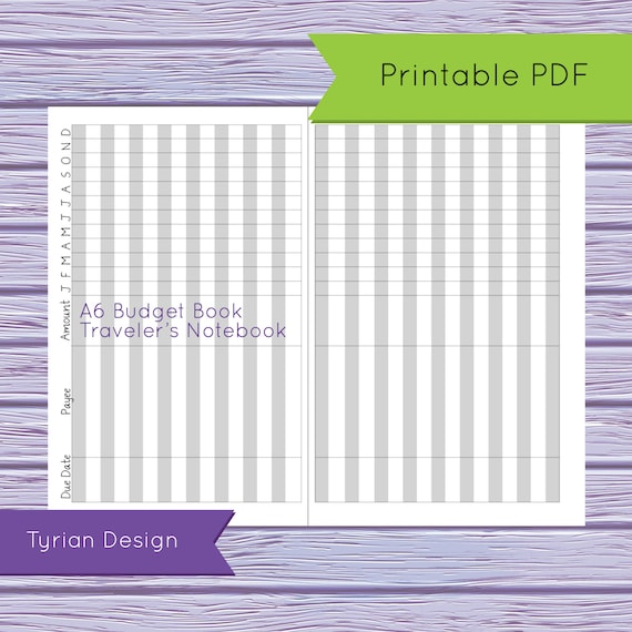 budget book for a6 traveler s notebook printable yearly etsy