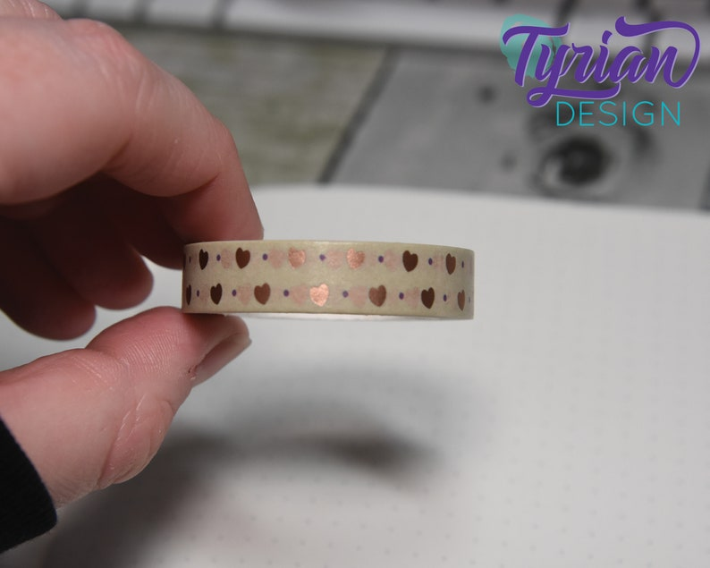 10mm Rose gold washi tape with neutral background. Rose Gold hearts on natural background washi tape