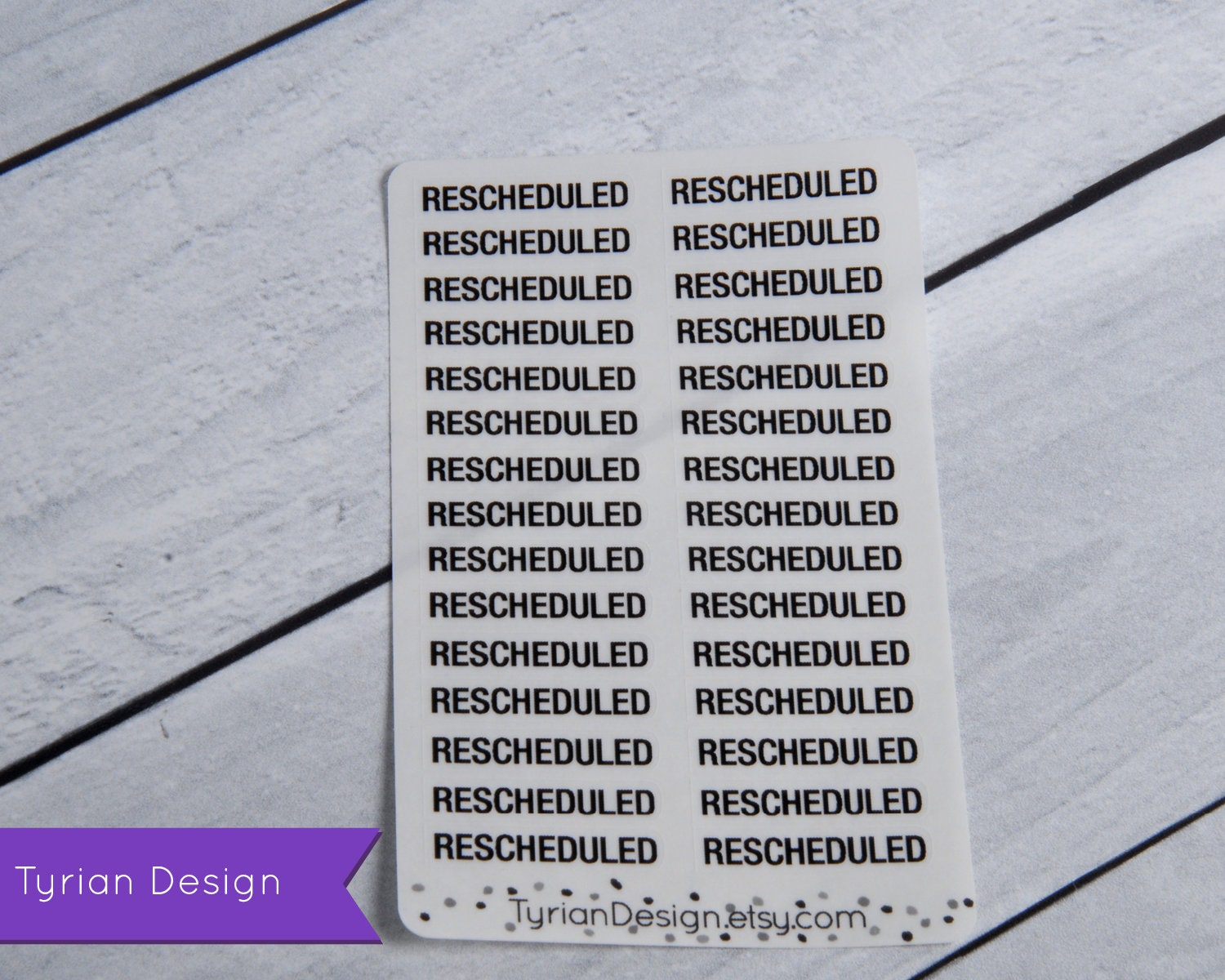 Rescheduled Stickers (Small) for Planners and Journals  Rescheduled for  appointments  clear or white matte stickers Foil optional