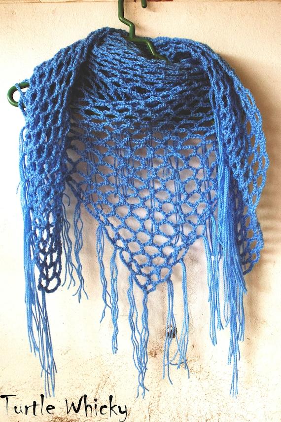 Crochet Triangle Fringe Scarf Crochet Pattern Crochet Mesh Etsy