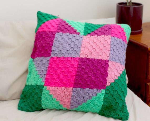 Crochet Heart Cushion Cover Pattern Only C2c Corner To Etsy