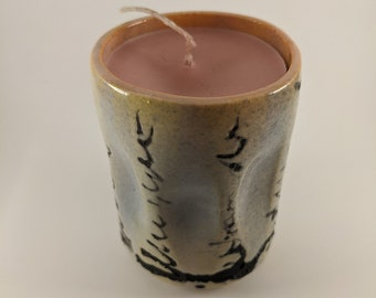 Cotton candy textures ceramic candle (11-03)