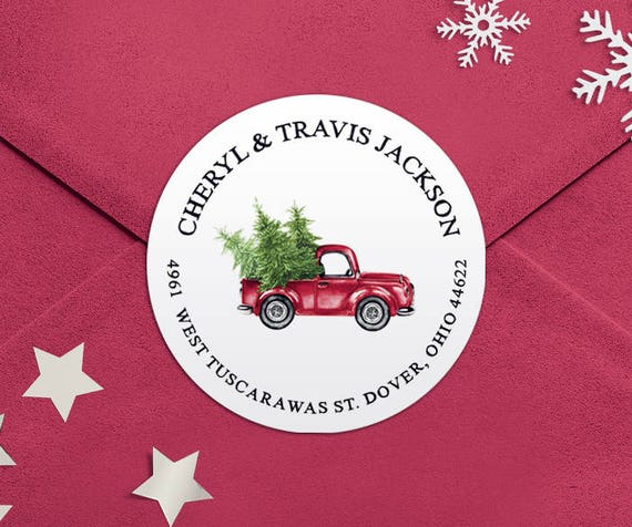 address labels christmas truck round return address labels etsy