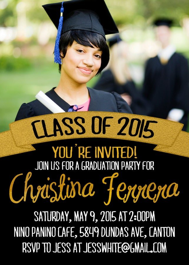 Graduation Party Invitations / Black and Gold Banner, Photo / Party Invite for Graduate / Class of 2015, 2016 / Digital or Printed Cards