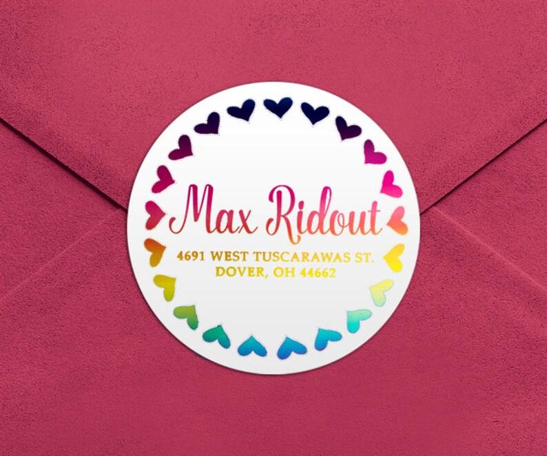 Address Labels  Rainbow Foil Round Return Address Labels  Custom Address Labels  Address Sticker  Address Label Sticker  Max Foil