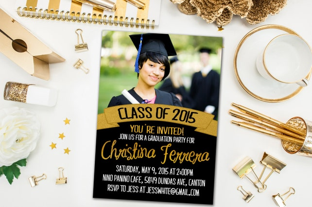 Graduation Party Invitations / Black and Gold Banner, Photo / Party Invite for Graduate / Class of 2015, ...