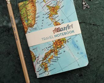 Atlas map journal etsy notebook small japan tokyo kobe kioto 4x58inch 40 p plainruled travel journal diary atlas map vintage upcycling gumiabroncs Images