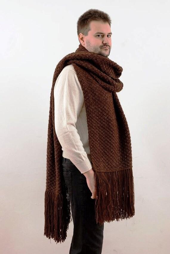 Tricotés à la main énorme écharpe pour homme. Hiver homme   Etsy 882b60e4e0f