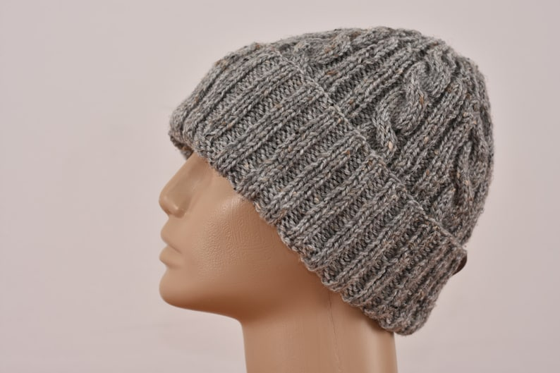 62b4aaf2d33 Mens Slouchy Beanie. Winter Hat. Hand Knit Chunky Beanie