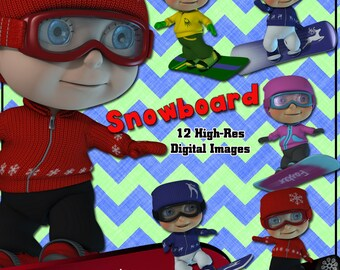 Snowboard Digital Clip Art  12 cute snow board images for your birthday card making Snowboarder Clip Art Toon Snow Boarder