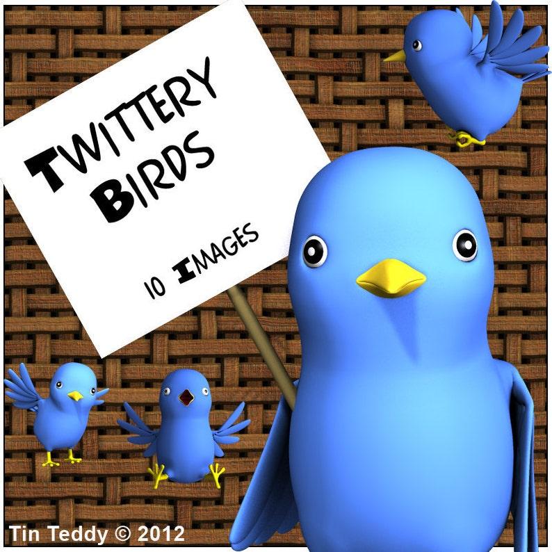 Twittery Birds Digital Clip Art  10 Cute Blue Toon Birdies  image 0