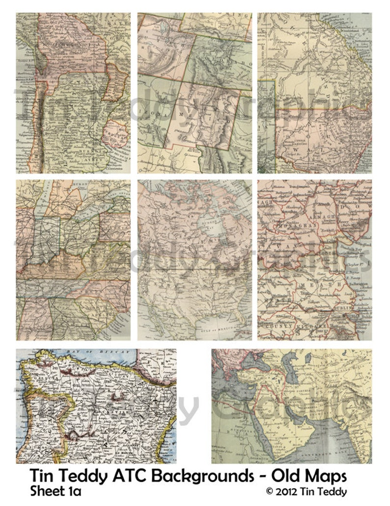 map ATCs map tags Vintage Map Digital Collage Sheet great for ATC backgrounds