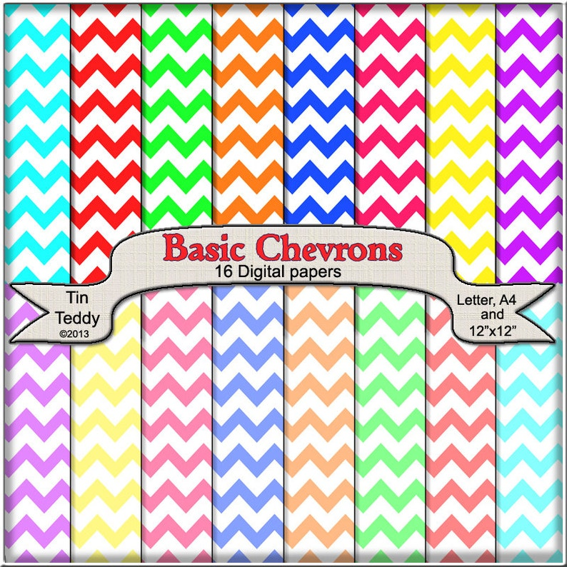 Basic Chevron Digital Papers  Printable Backgrounds for your image 0