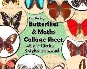 Butterflies and Moths Digital Collage Sheet  - 1 Inch Circles x 48 , Butterfly Circles For Jewelry, Bottle Caps etc Instant Download