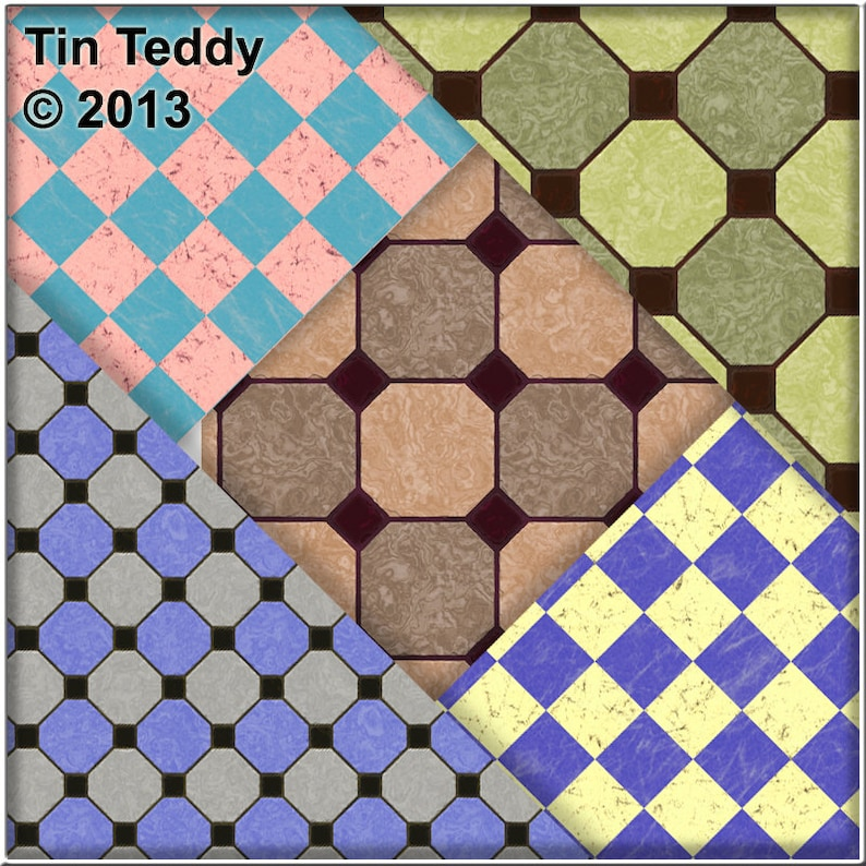 Printable Tiles Backgrounds for Tiled Crafting Projects Scrapbooking /& More Instant Download Kitchen Floors Digital Papers