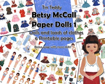 1950s Dress Up Dolls Digital Paper Doll Set 1 - Printable Vintage Betsy McCall Paper Dolls and Lots of 1950s Style Clothes for the Dollies