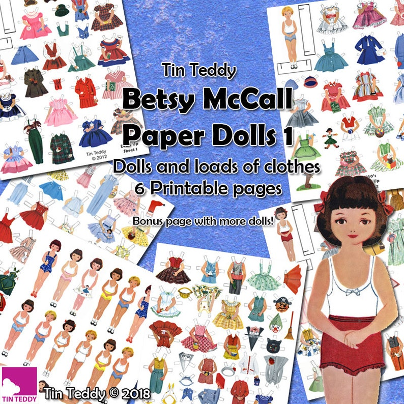 graphic relating to Printable Dress Up Paper Dolls referred to as 1950s Costume Up Dolls Electronic Paper Doll Preset 1 - Printable Basic Betsy McCall Paper Dolls and Loads of 1950s Style and design Dresses for the Dollies
