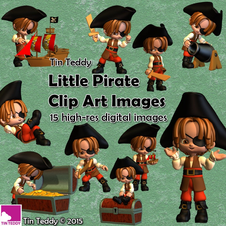 Little Pirates Clip Art 15 digital images for crafting. image 0