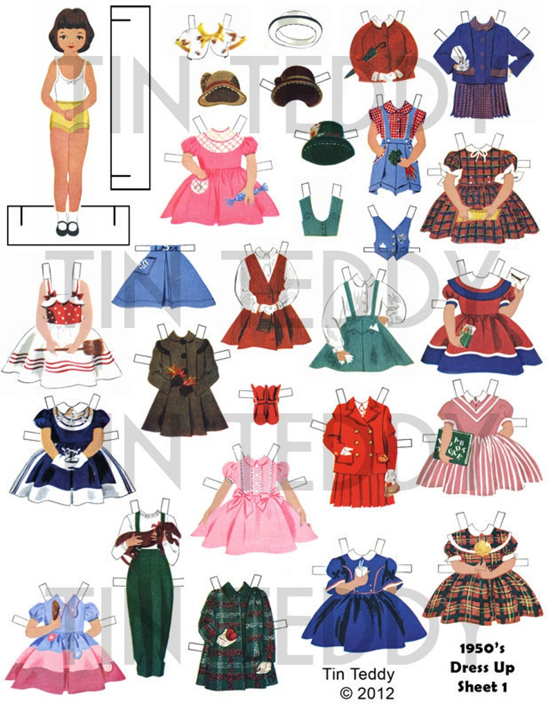 image regarding Printable Dress Up Paper Dolls identify 1950s Costume Up Dolls Electronic Paper Doll Mounted 1 - Printable Traditional Betsy McCall Paper Dolls and A great deal of 1950s Design and style Garments for the Dollies
