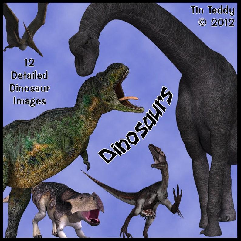 Dinosaurs Digital Clip Art  12 Prehistoric Images for image 0
