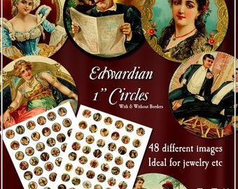 Edwardian Circles Digital Collage Sheet  -  1 Inch Disks x 48 - Perfect for Jewelry, Bottle Caps - Instand Download
