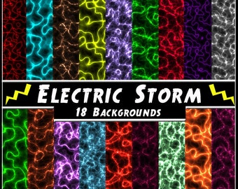 Electric Storm Digital Papers - 18 Lightning Printable Backgrounds for Scrapbooking, Birthday Card Making & More