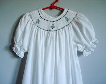 Vintage Christmas dress - girl's size 6X - hand smocked