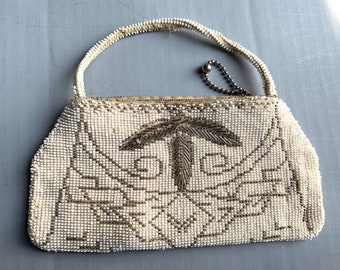 Gorgeous beaded bag - white and platinum - made in Czechoslovakia