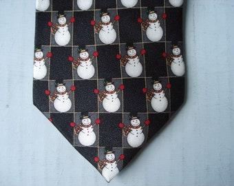 Musical snowmen tie - Hallmark - Holiday Traditions - silk