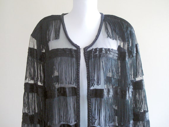 1980s does 1920s - fringe flapper jacket with powe