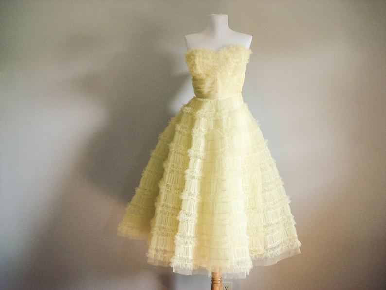 strapless tulle dress 1950s prom dress