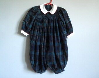 Vintage all-in-one romper - blue and green plaid - 18 months