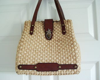 Woven basket purse with leather details