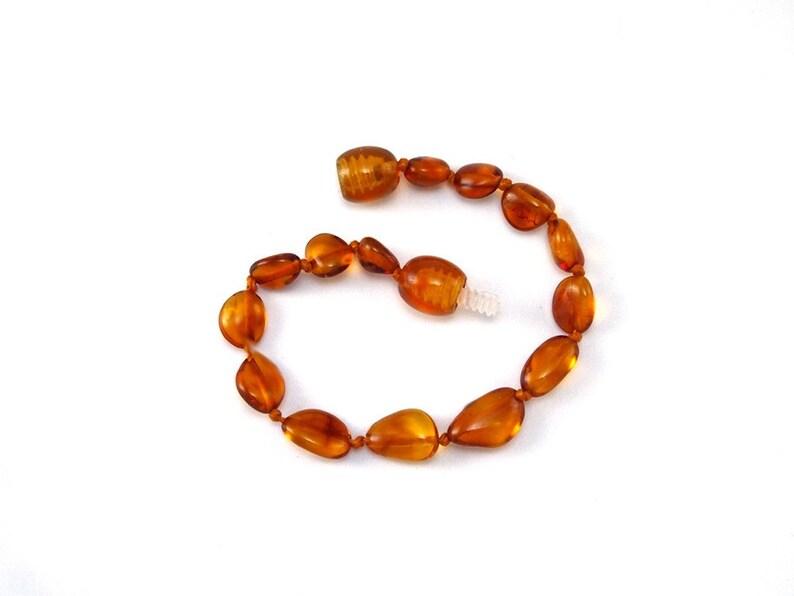 Baltic Amber Bracelet Toddler Baby Teething Child Beans Polished Honey