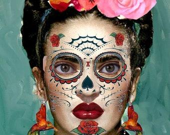 4 Styles Day Of The Dead Sugar Skull Temporary Face Tattoo Etsy
