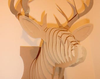 SALE Cardboard 3 D Puzzle DEER HEAD Wall Decor AntlersCraftsDecor3DPuzzle Elk Head Stag With Antlers Deer