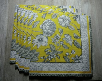 6 Decoupage napkins,paper napkin yellow and black napkin, botanical drawing napkin, black and white floral napkin