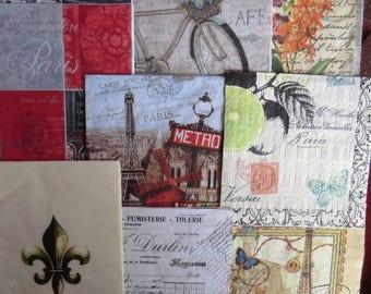 8 Decoupage napkins,French napkins,Paris theme napkin French receipt napkin,Fleur de Lis, Marche de Puce, Paris flea market, Eiffel tower