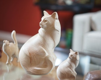 Wooden Cat Figurine. Made of Hard Maple and different hardwoods. very elegant cat sculpture. This is a Giant version of my other cats.