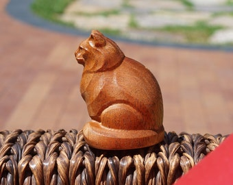 Wooden Cat Figurine. Chubby Cat Made of solid African Mahogany and different hardwoods.
